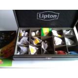 Boite a thé lipton en bois avec sachets